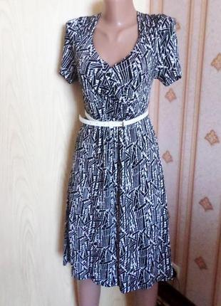 Платье трикотажное, черно - белое, 100% вискоза
