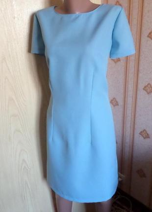 Платье небесно-голубое из габардина размер l -m