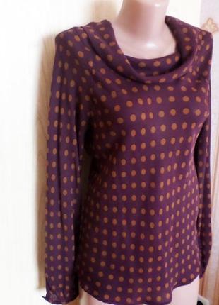 Блузка в горох, с длинным рукавом