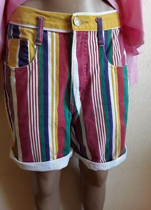 Джинсовые шорты высокой посадки  в цветную  полоску