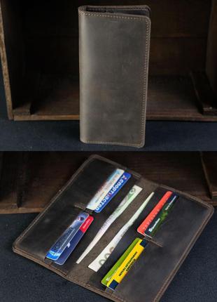 Кожаный кошелек из натуральной винтажной кожи на 8 карт шокола...