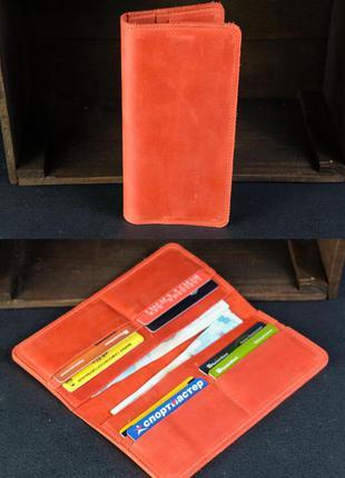 Кожаный кошелек из натуральной винтажной кожи на 8 карт красный