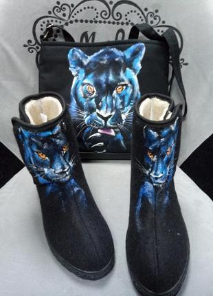 Валенки+сумка с росписью пантера.