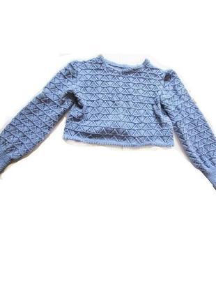 Красивая короткая ажурная вязанная кофта свитер кроп топ