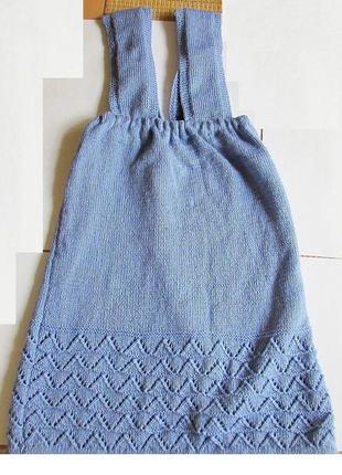 Красивый короткий вязаный ажурный сарафан платье