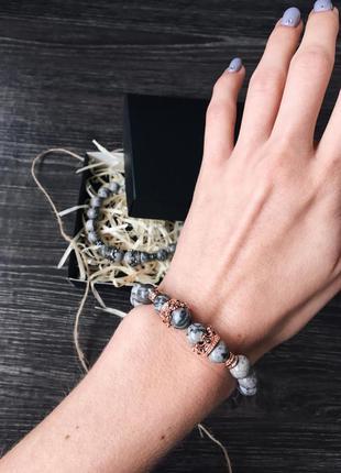 Женский браслет из натурального камня яшма
