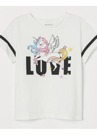 """H&m футболка """"единорог"""" на девочку"""