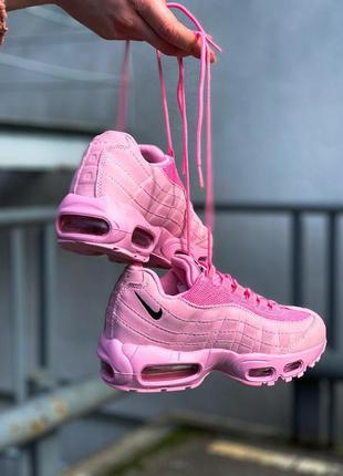 Шикарные женские кожаные кроссовки/ кеды nike air max 95 pink ...