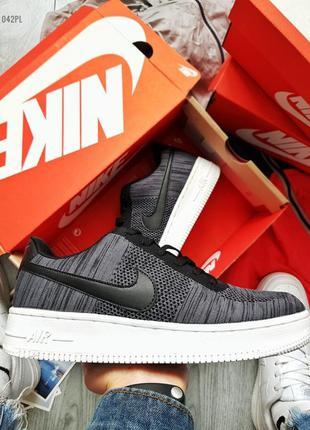 Nike air force 1 low flyknit dark grey, мужские кроссовки найк