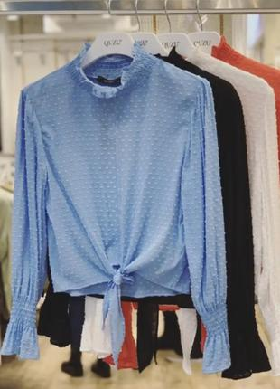 Стильна шифонова блуза із зав'язкою