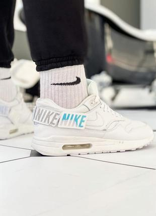 Nike wmns air max 1-100 white, мужские белые кроссовки найк эи...