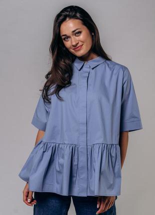 Оверсайз рубашка блузка свободного кроя с рюшей