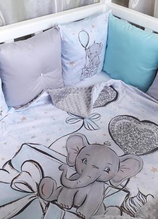 Бортики в детскую кроватку со слоником