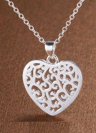 🏵ажурная подвеска на цепи кулон в серебре сердце, новая! арт.1...