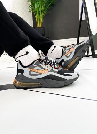 Nike air max 270 react winter wolf grey/total orange-black муж...
