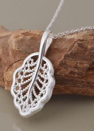🏵️подвеска на цепи - ажурный кулон лист в серебре, новый! арт....