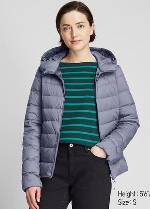 Женская ультра легкая куртка пуховик с капюшоном