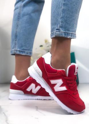 Кроссовки женские замшевые красные