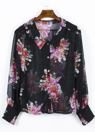 Прозрачная блузка черная, легкая блузка с прозрачной тканью, ч...