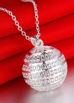 🏵подвеска на цепи кулон шар ажурный в серебре 925, новая! арт....