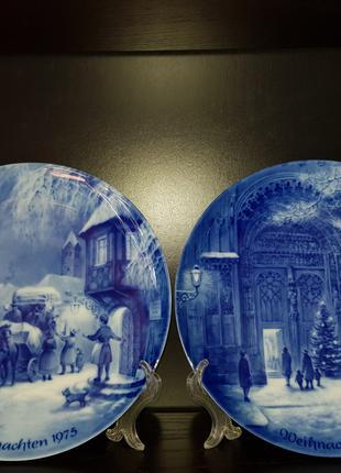 Рождественские, кобальтовые, фарфоровые, настенные тарелки