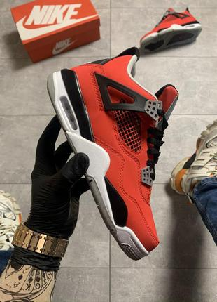 Мужские кроссовки nike air jordan 4 retro red black😍