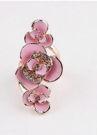 Эксклюзивное позолоченное кольцо цветы, 18-18,5 р., новое! арт...