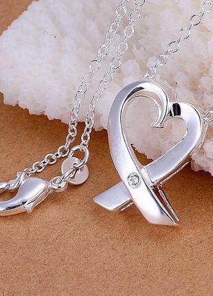 🏵подвеска на цепи в серебре 925 с фианитом сердце, новая! арт....