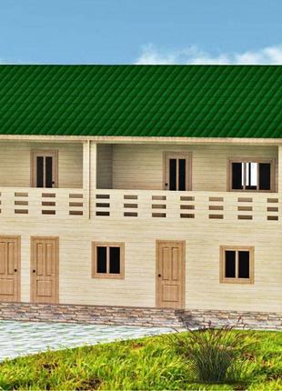 Дом из бруса 14х7 м. в Украине. Строительство деревянных домов.