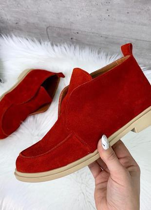 ❤ женские красные замшевые высокие лоферы туфли ❤
