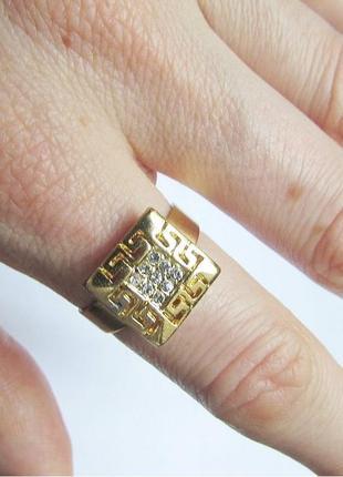 Стильное кольцо с орнаментом в стразах, безразмерное, новое! а...