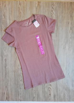 Женская хлопковая футболка primark цвет кофе с молоком хс