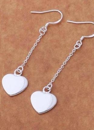 🏵серьги цепочки с сердем в серебре 925, новые! арт. 2218