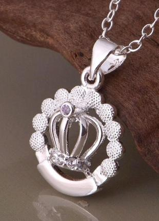 🏵️стильная подвеска на цепи в серебре 925 корона в фианитах, н...