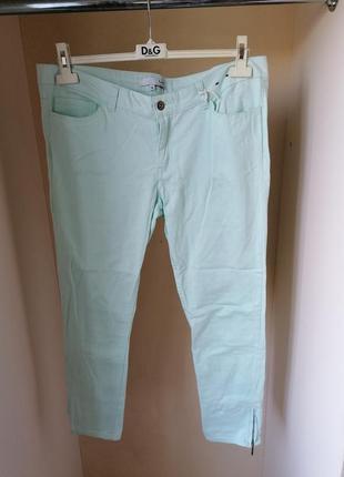 Сток натуральные летние зауженные мятные брюки с молнией на ло...