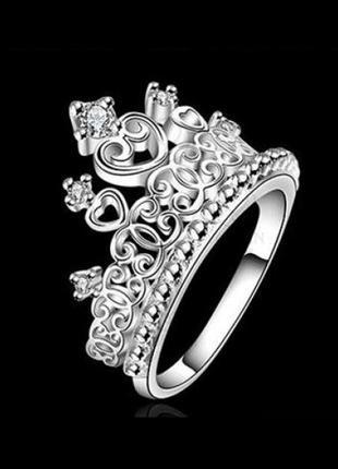 Шикарное кольцо в серебре 925 с фианитами корона, 18 р., новое...