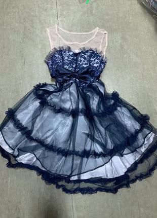 Платье шифон бант атлас пышная юбка на выпускной