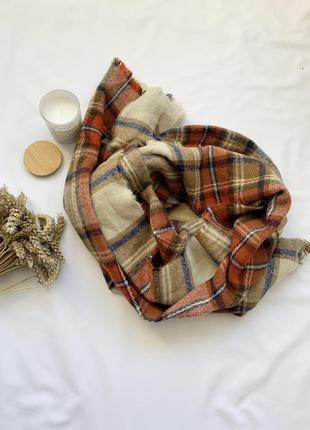 Шарф, широкий шарф, палантин, объемный шарф, в клетку, atmosphere
