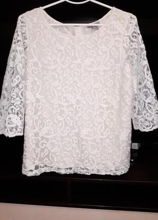 #розвантажуюсь/нарядная кружевная блузка спинка на пуговках раз.l