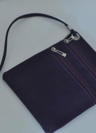 Фиолетовая сумка через плечо с длиной ручкой