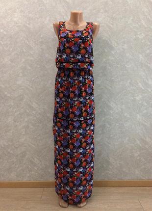 Платье шифоновое сарафан макси в цветы george