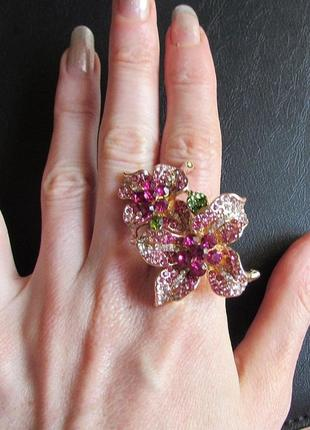 Шикарное ювелирное кольцо цветы, 18 р., новое! арт. 2645