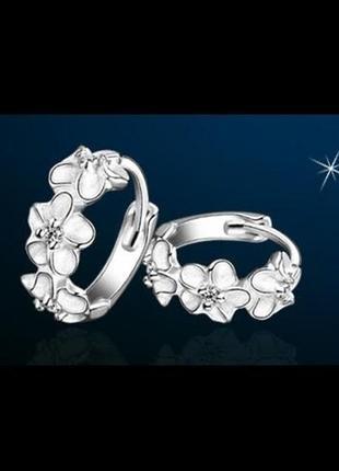 🏵красивые серьги в серебре 925 с цирконием цветы, новые! арт. ...
