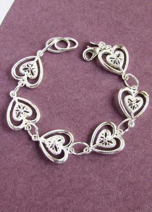 🏵️потрясающий посеребрённый браслет в серебре 925 сердце, новы...