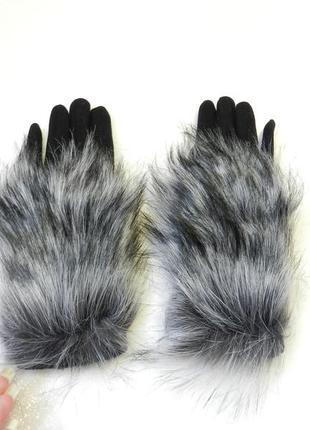 Перчатки зима мех
