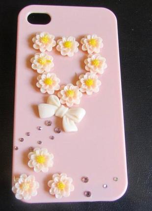 🏵эксклюзивный чехол для iphone 4 и 4s сердце из цветов, новый!...