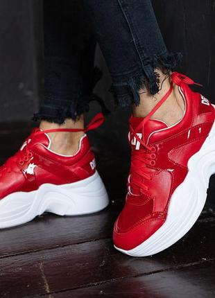 Женские кроссовки кожаные красные люкс качества