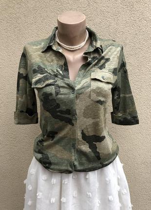 Лён,трикотаж блуза,кофточка,рубашка,люкс бренд,оригинал,камуфл...