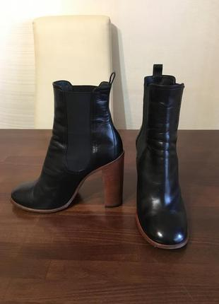 Celine paris оригинал италия черные кожаные полусапожки ботинки