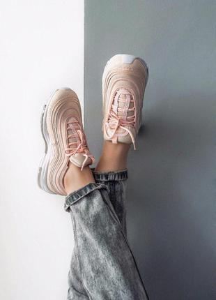 Nike air max 97 кожаные женские кроссовки найк розовый цвет (в...